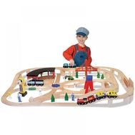 Set Trenulet din lemn cu depou - Melissa and Doug - Melissa and Doug