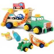Camion transportor demontabil din lemn Smily Play - Smily Play