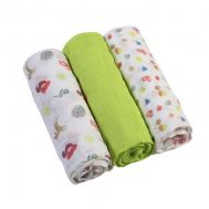 Set 3 scutece textile din muselina 70x70 cm Baby Ono verde, 100% bumbac - Baby Ono