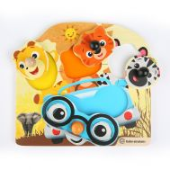 Baby Einstein - Jucarie de lemn Hape Friendly Safari Faces™ Puzzle - Bright Starts