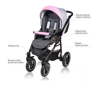 Carucior Crooner 2 in 1 - Vessanti - Pink/Gray - Vessanti