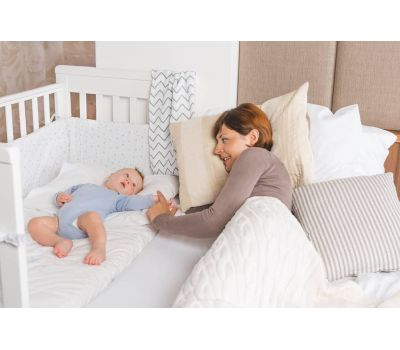 Treppy Patut co-sleeping 120x60 cu laterala culisanta si roti Dreamy Plus Alb - Treppy